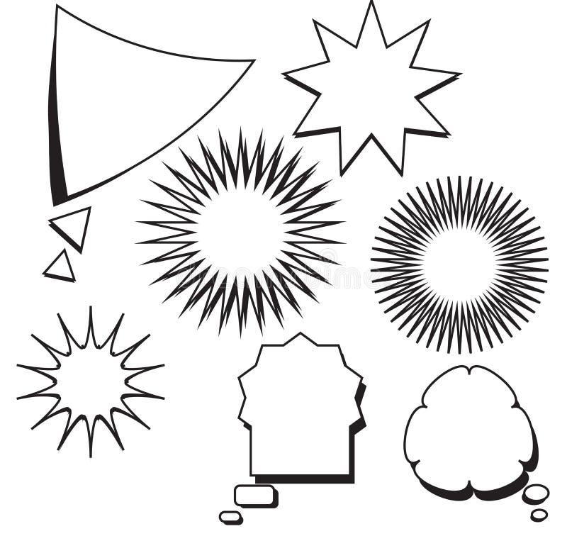 Sistema cómico de la estrella de la burbuja del discurso del texto de la plantilla en blanco ilustración del vector