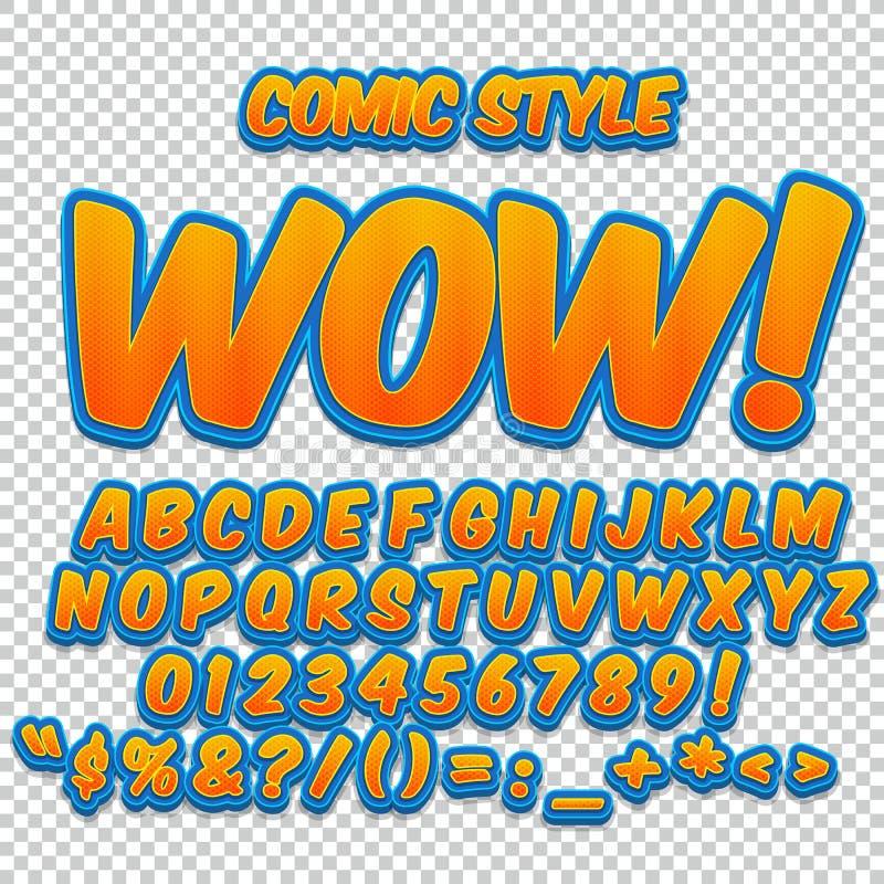Sistema cómico del alfabeto Letras, números y figuras para los ejemplos de los niños, sitios web, tebeos ilustración del vector