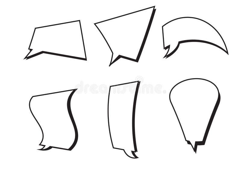 Sistema cómico del vector de los cuadros de texto Burbujas del discurso ilustración del vector