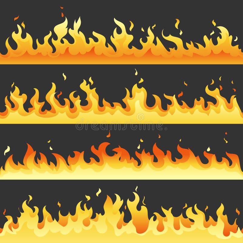 Sistema caliente inconsútil de la llama del fuego, colección de la luz del fuego del peligro aislada en el fondo blanco Llama roj ilustración del vector