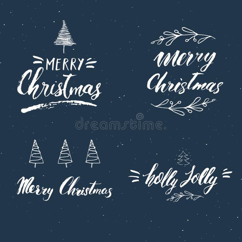 Sistema caligráfico del deletreado de la Feliz Navidad Diseño tipográfico de los saludos Letras de la caligrafía para el saludo d ilustración del vector