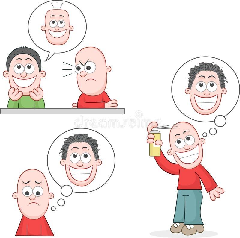 Sistema calvo del hombre stock de ilustración
