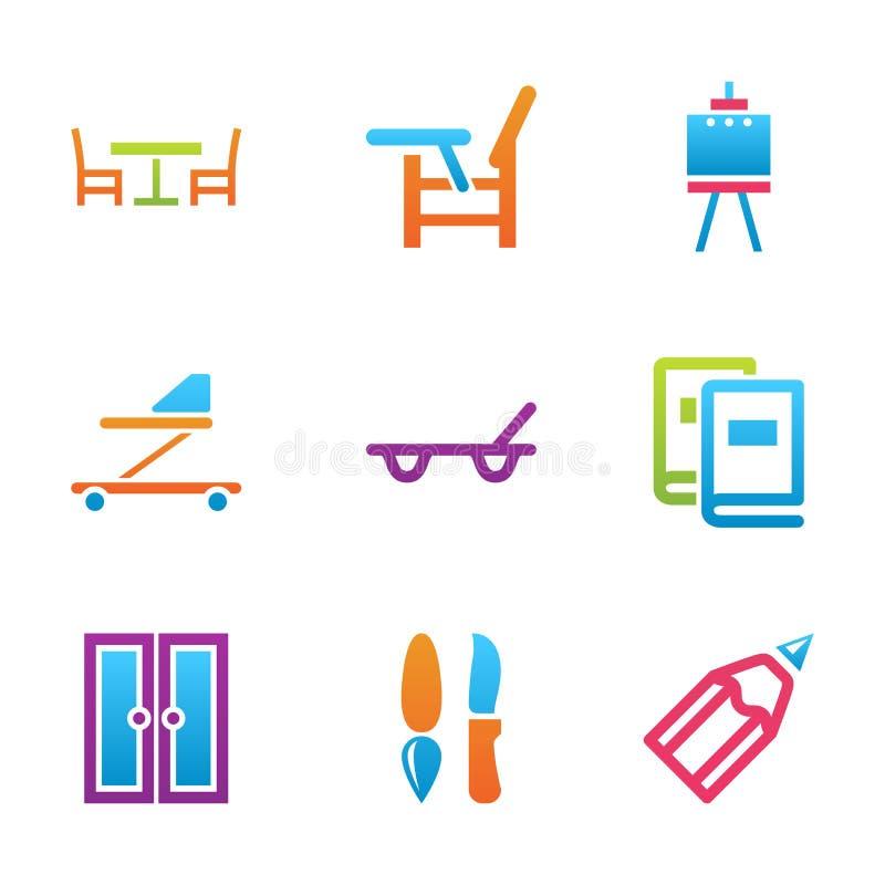 Sistema casero del icono de la materia stock de ilustración