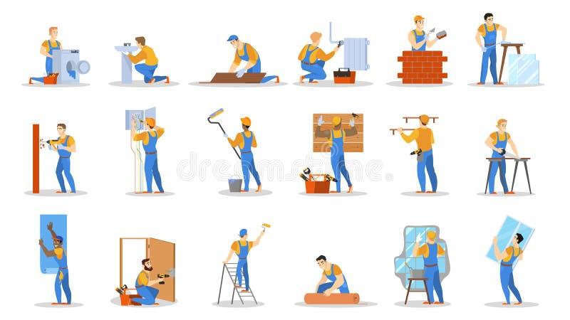 Sistema casero del trabajador de la reparación Colección de gente stock de ilustración