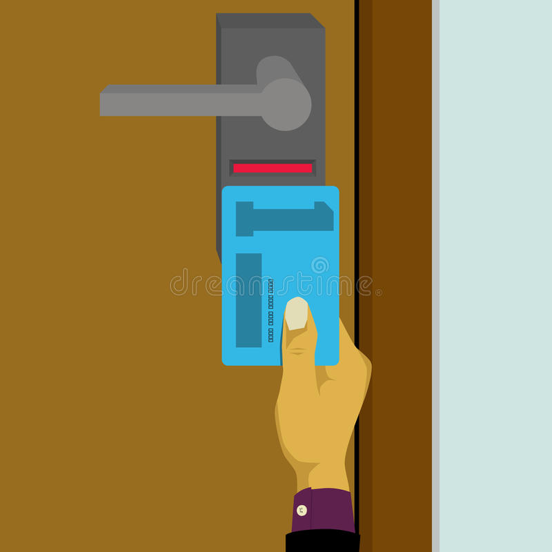 Sistema chave eletrônico, fechamento esperto do cartão chave ilustração do vetor
