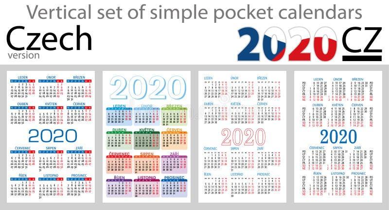 Sistema checo de los calendarios del bolsillo para 2020 stock de ilustración