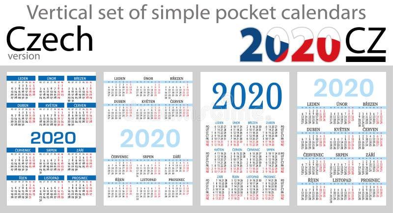 Sistema checo de los calendarios del bolsillo para 2020 ilustración del vector
