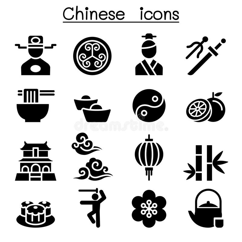 Sistema chino del icono stock de ilustración
