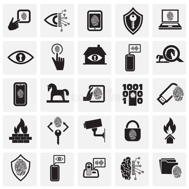 Sistema cibernético de la seguridad y del ordenador en el fondo de los cuadrados para el gráfico y el diseño web, muestra simple  foto de archivo libre de regalías