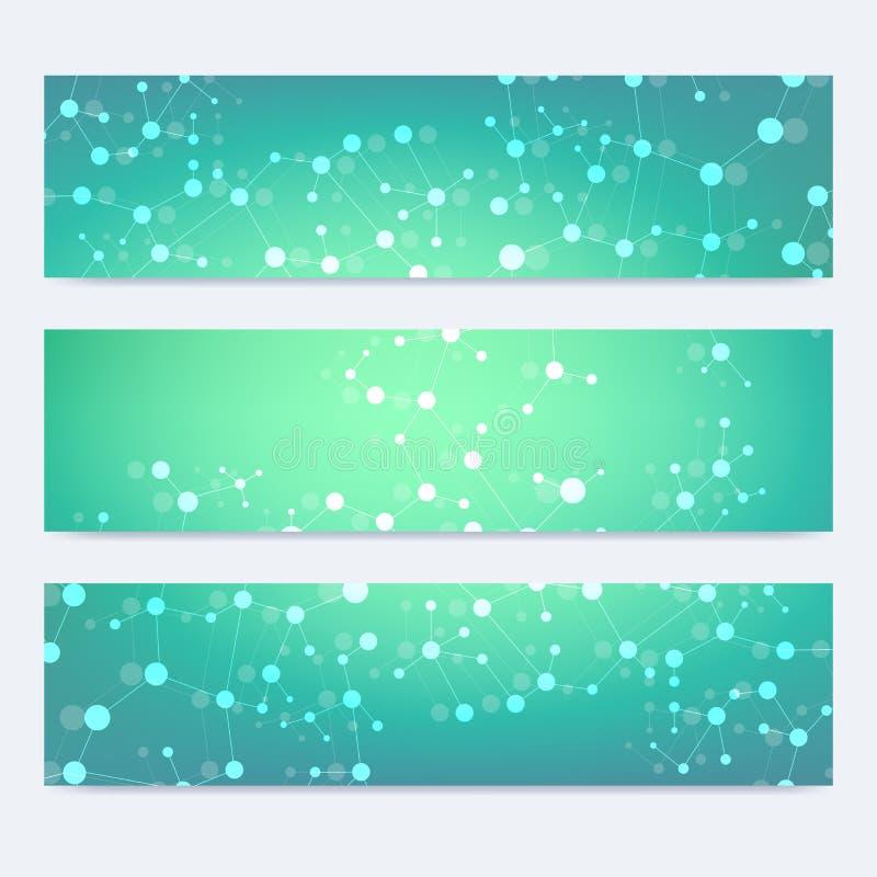 Sistema científico de banderas modernas del vector Estructura de la molécula de la DNA con las líneas y los puntos conectados Fon libre illustration