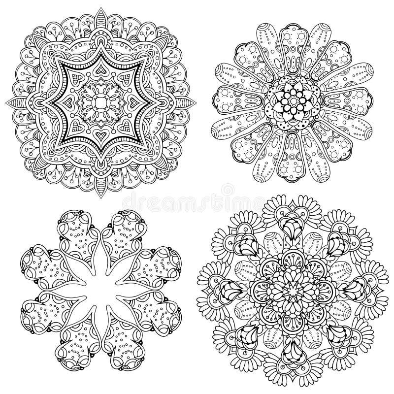 Sistema circular geométrico del ornamento stock de ilustración