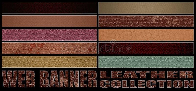 Sistema 8 colección completa del cuero de la bandera del web ilustración del vector