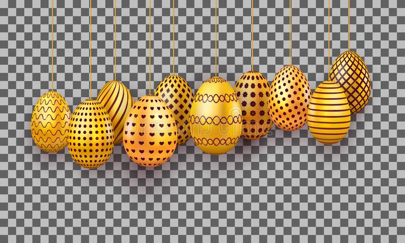 Sistema colgante de los huevos de Pascua del oro huevo realista 3d aislado en fondo transparente Elemento del diseño del día de f stock de ilustración