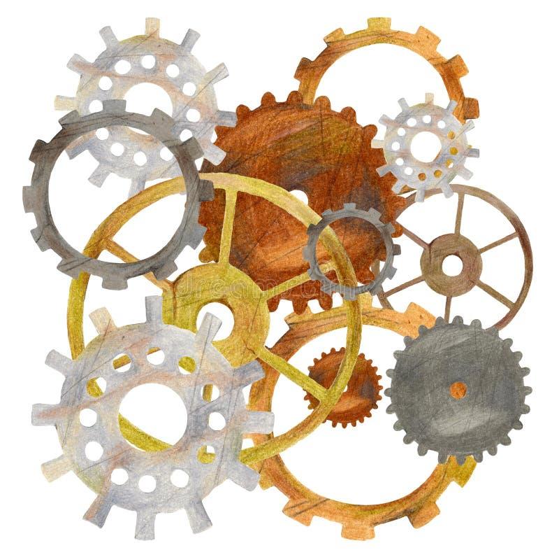 Sistema collegato adattare delle ruote dentate Concetto di lavoro di squadra o di cooperazione con il meccanismo di stile dello s fotografia stock libera da diritti
