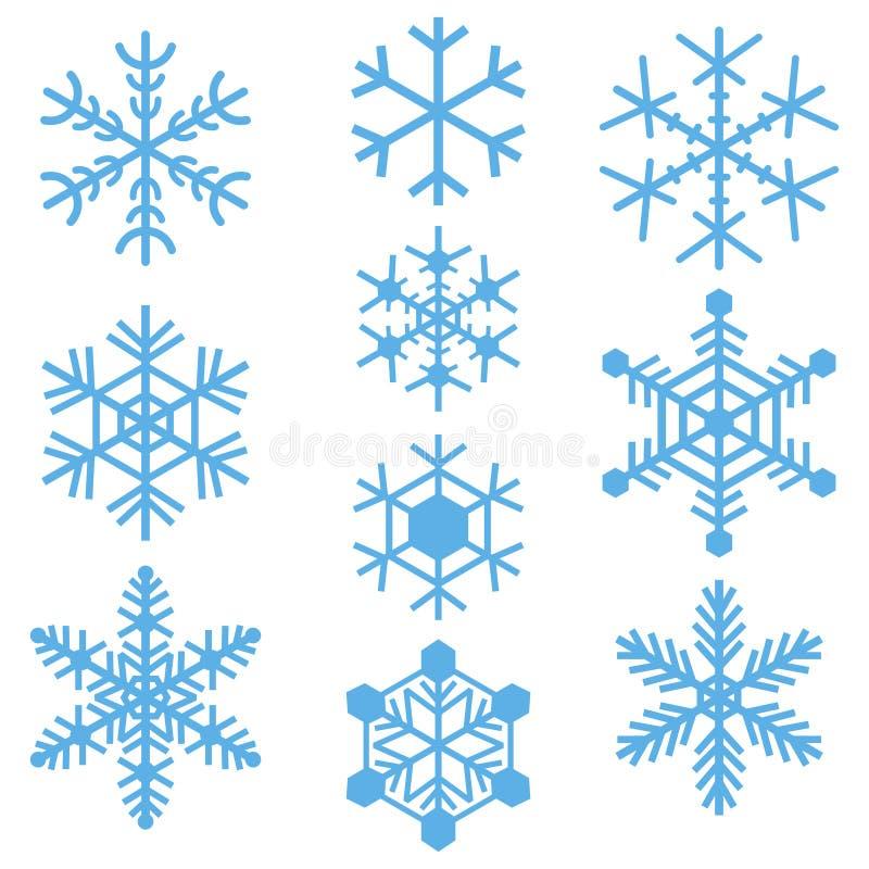 Sistema coloreado azul simple de los logotipos de las muestras de los iconos de los símbolos de los copos de nieve ilustración del vector