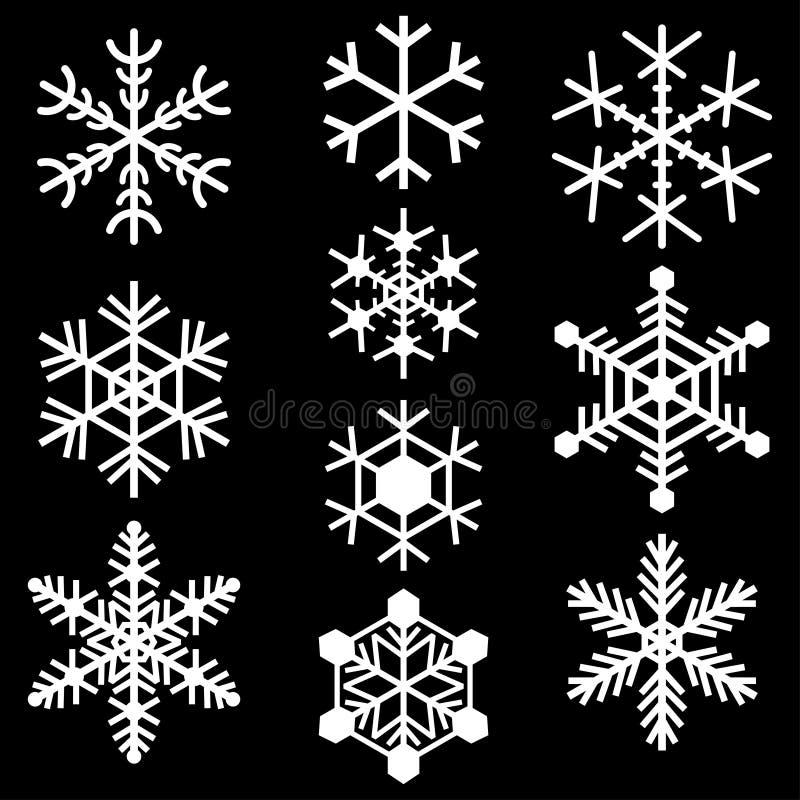 Sistema coloreado blanco simple de los logotipos de las muestras de los iconos de los símbolos de los copos de nieve ilustración del vector