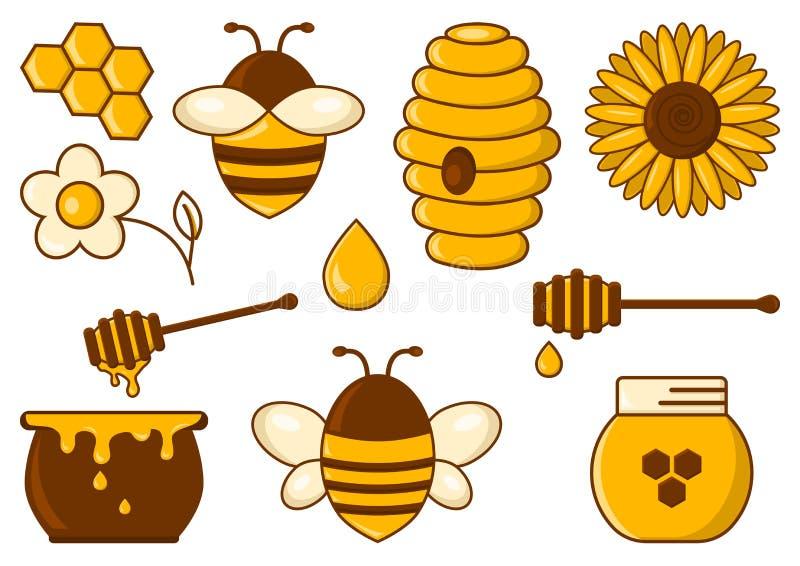 Sistema coloreado de la miel Ilustraci?n del vector libre illustration