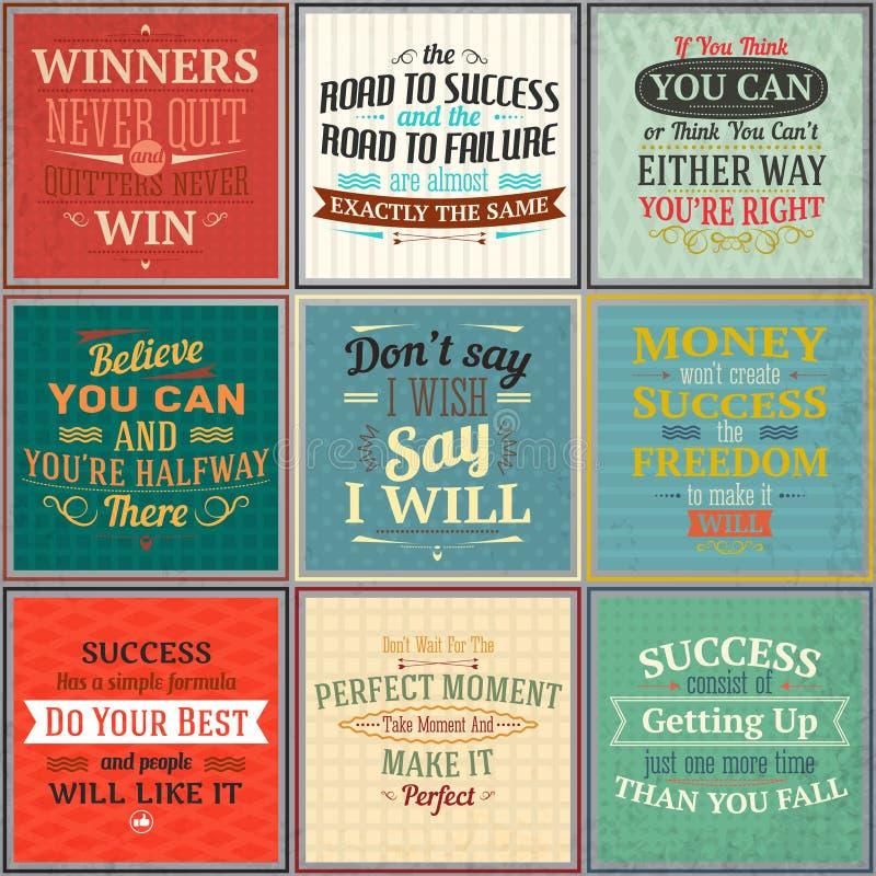 Sistema coloreado de las citas del éxito stock de ilustración