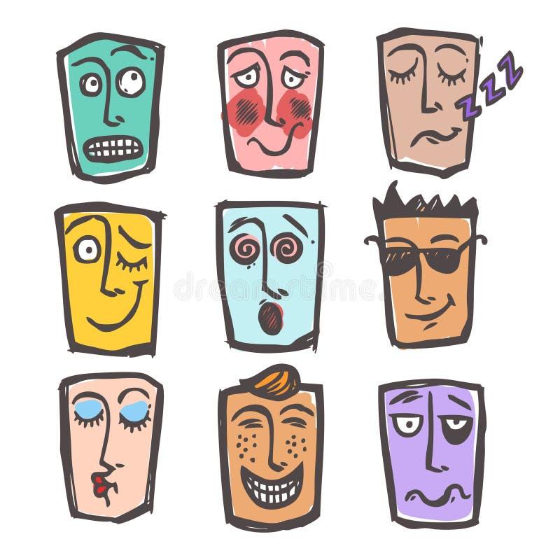 Sistema coloreado de los emoticons del bosquejo stock de ilustración