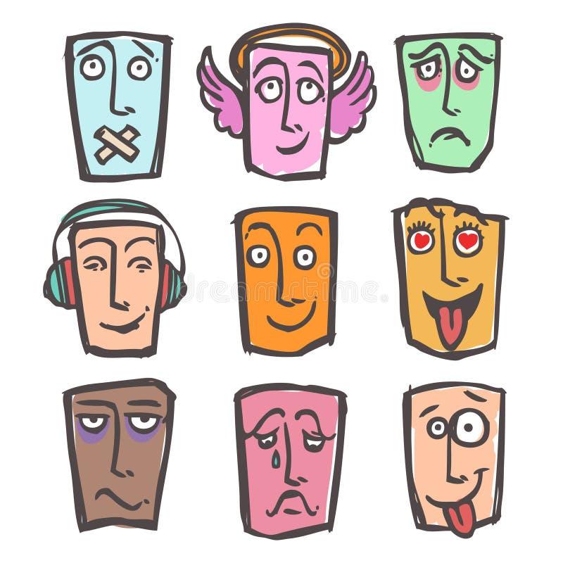 Sistema coloreado de los emoticons del bosquejo ilustración del vector