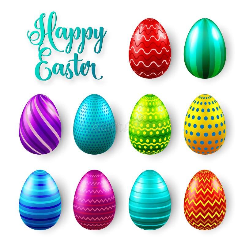 Sistema coloreado de los huevos de Pascua Días de fiesta de la primavera en abril Regalo Celebración estacional Caza domingo del  libre illustration