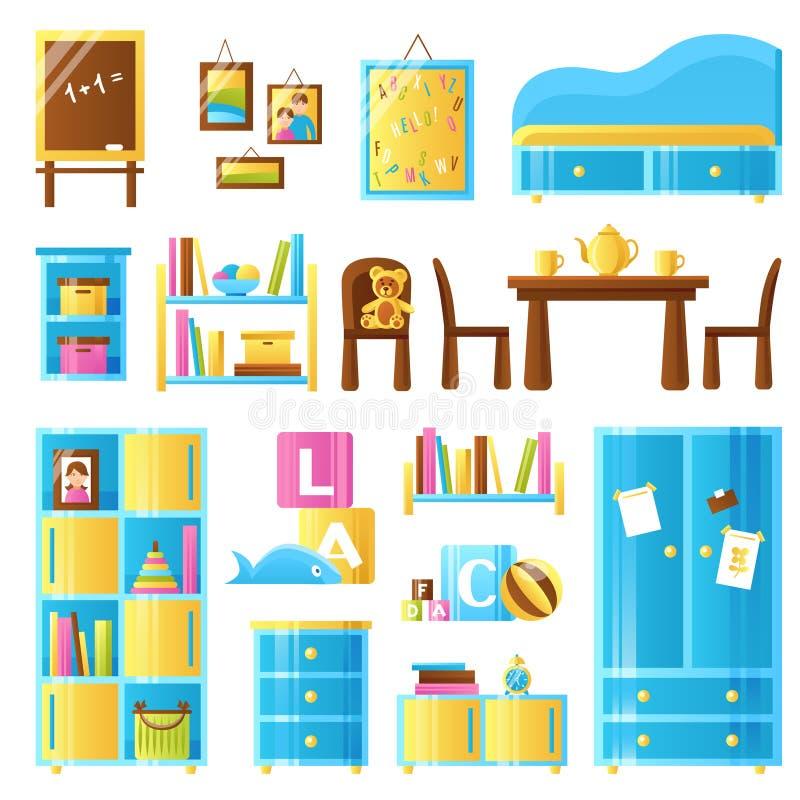 Sistema coloreado de los muebles del sitio del bebé stock de ilustración