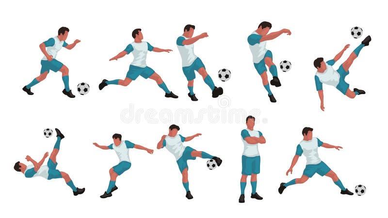 Sistema coloreado del jugador de fútbol stock de ilustración