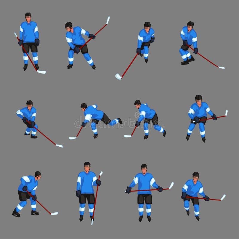 Sistema coloreado del jugador de hockey stock de ilustración
