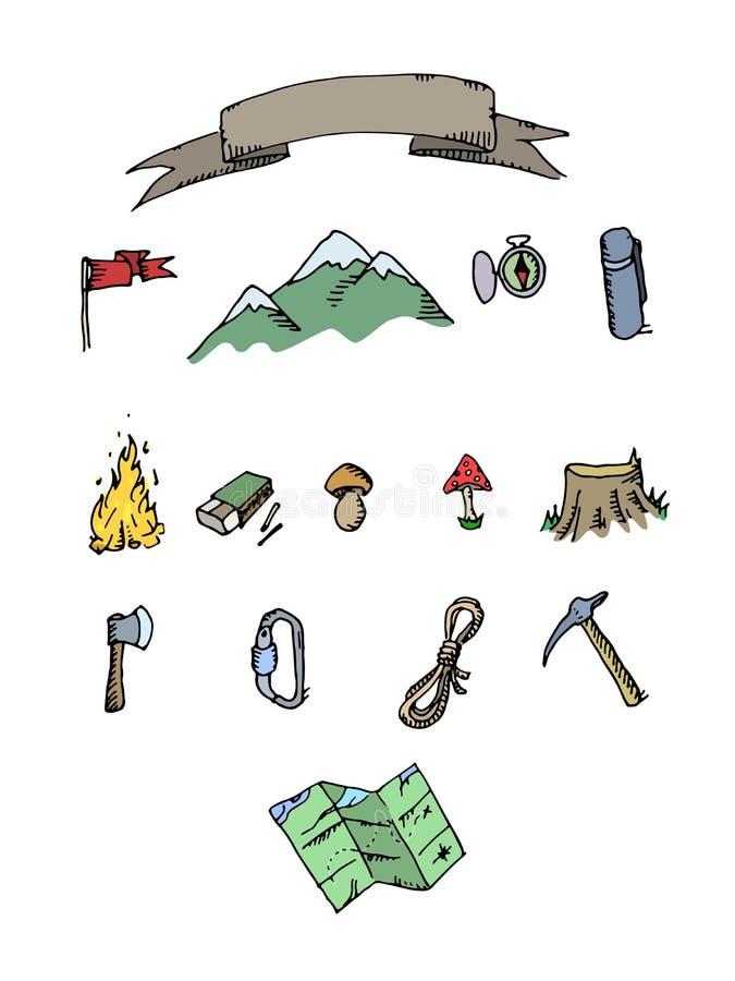 Sistema coloreado dibujado mano de la aventura que acampa Elementos del garabato stock de ilustración