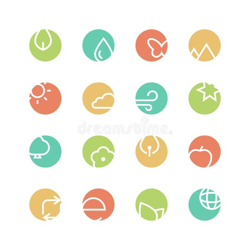 Sistema coloreado naturaleza del icono libre illustration