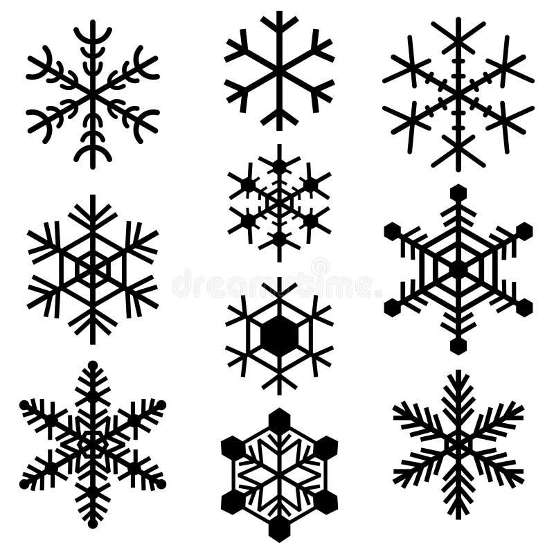 Sistema coloreado negro simple de los logotipos de las muestras de los iconos de los símbolos de los copos de nieve ilustración del vector