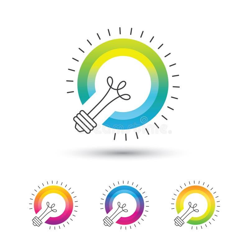 Sistema colorido brillante del logotipo de la bombilla ilustración del vector