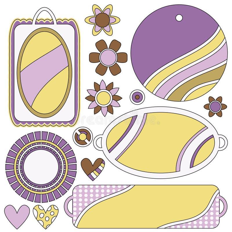 Sistema colorido con las etiquetas, las etiquetas, las flores y los corazones libre illustration