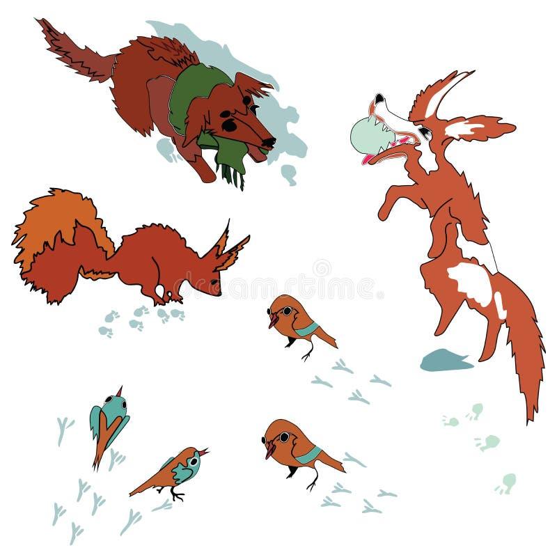 Sistema colorido, colorido de animales domésticos stock de ilustración