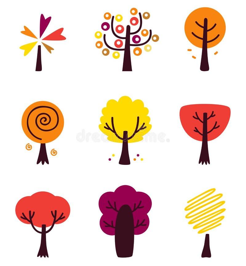 Sistema colorido de Autumn Vector Trees aislado en blanco stock de ilustración