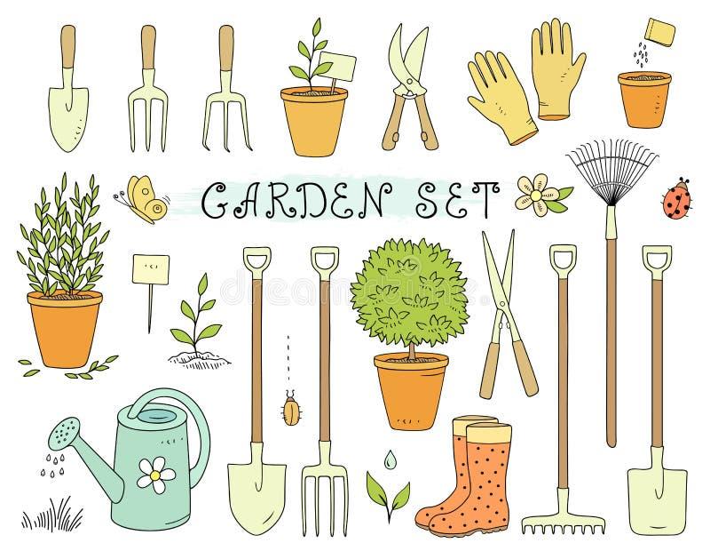 Sistema colorido de equipo de jardín ilustración del vector