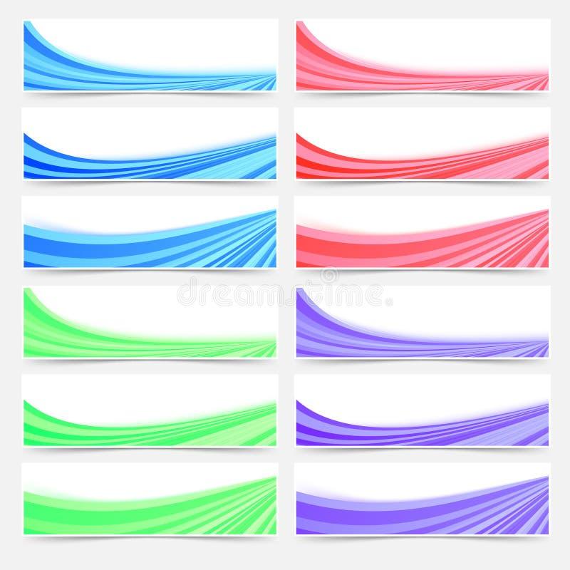 Sistema colorido de la bandera del pie de página del jefe del negocio del web stock de ilustración