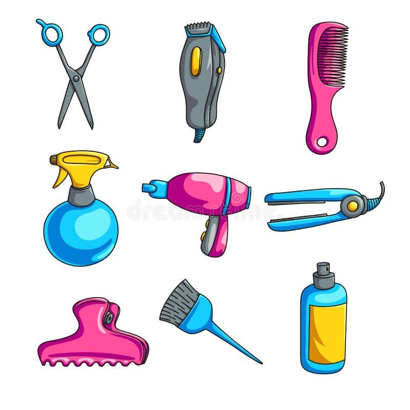 Sistema colorido de la peluquería de la historieta aislado en el fondo blanco stock de ilustración