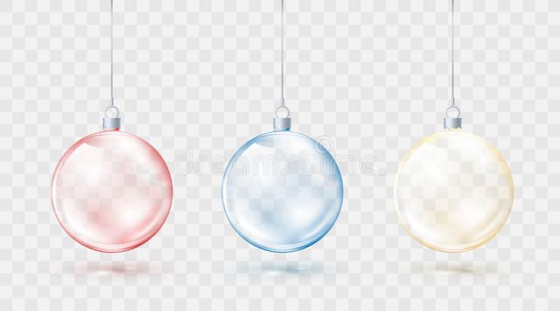 Sistema colorido de las bolas de la Navidad Bolas azules y amarillas rojas de Navidad aisladas en fondo transparente Elemento dec stock de ilustración
