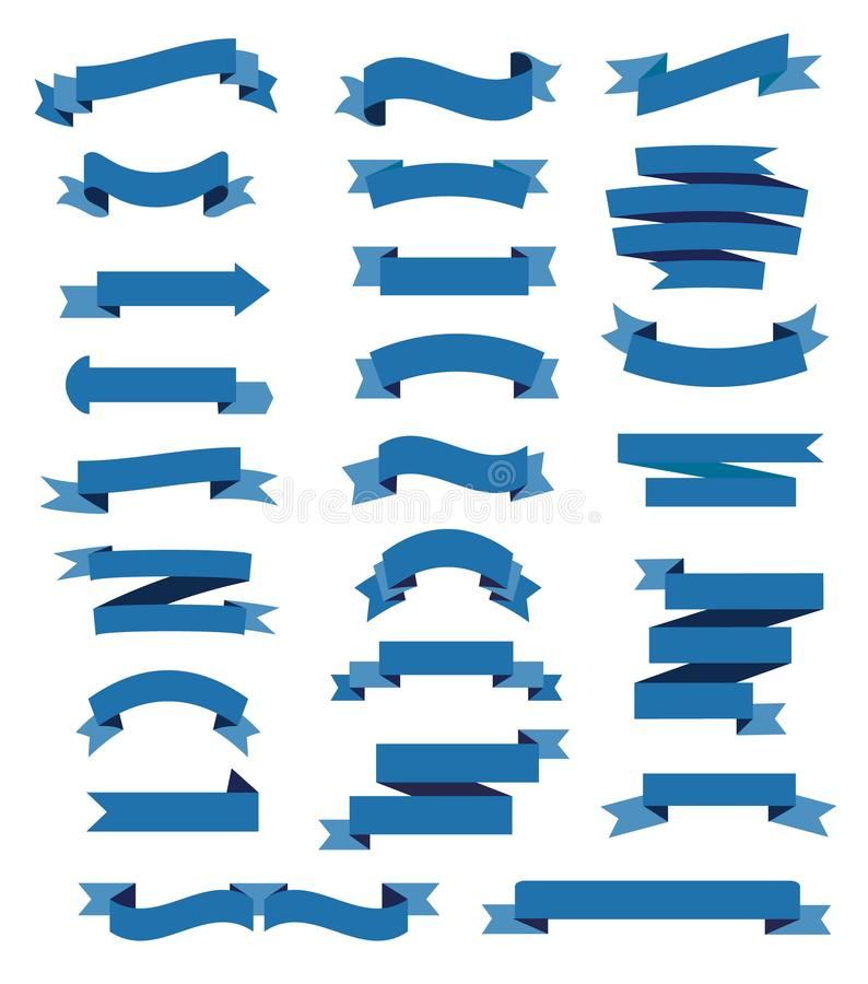Sistema colorido de las cintas azules ilustración del vector
