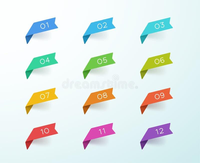 Sistema colorido de las cintas de la etiqueta del punto de bala del número 1 a 12 ilustración del vector
