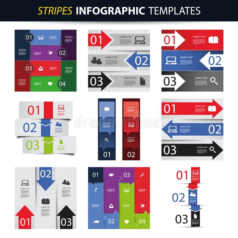 Sistema colorido de las plantillas del diseño de Infographic - banderas, cartas, flechas stock de ilustración