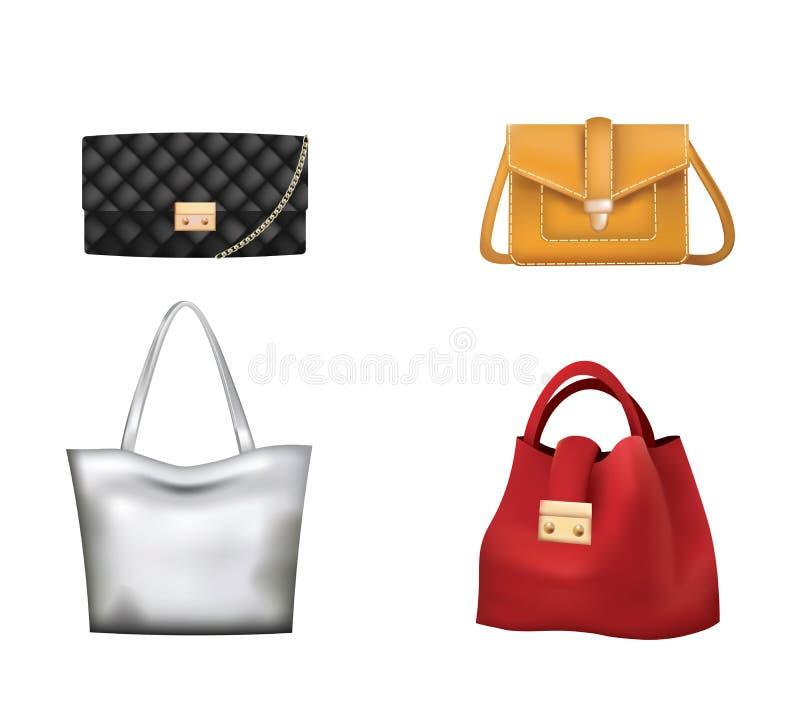 Sistema colorido de los bolsos de la mujer ilustración del vector