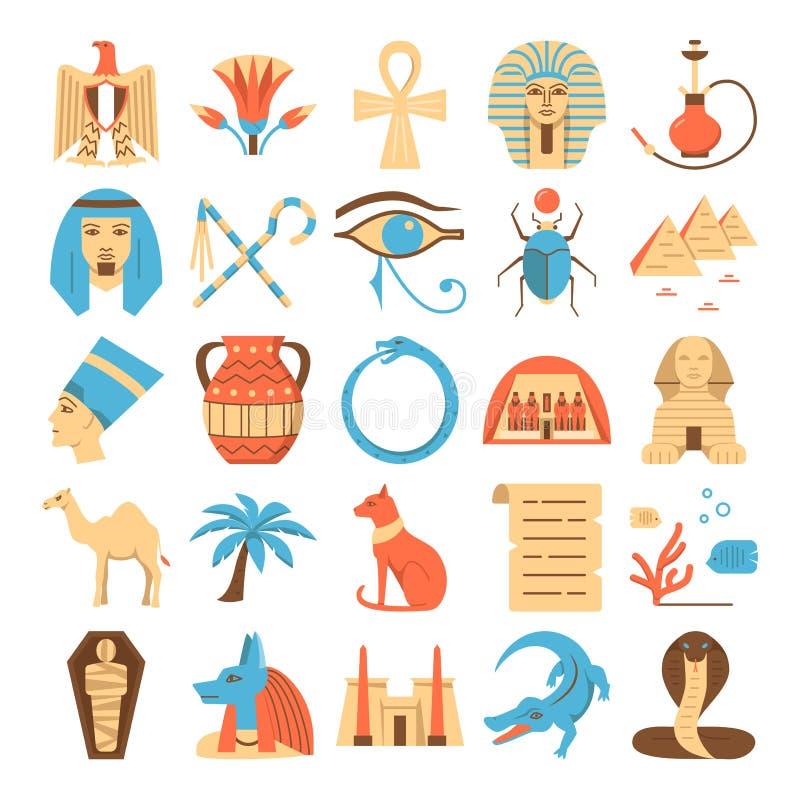 Sistema colorido de los iconos de Egipto en estilo plano stock de ilustración