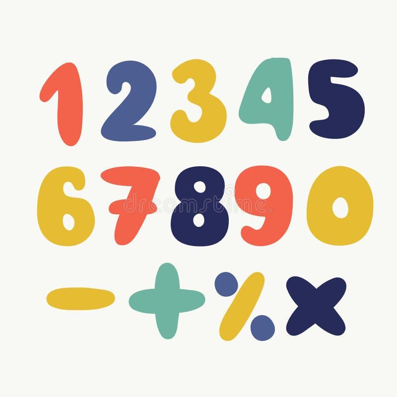 Sistema colorido de números dibujados mano aislado en los números de papel blancos, doblados para sus diseños ilustración del vector