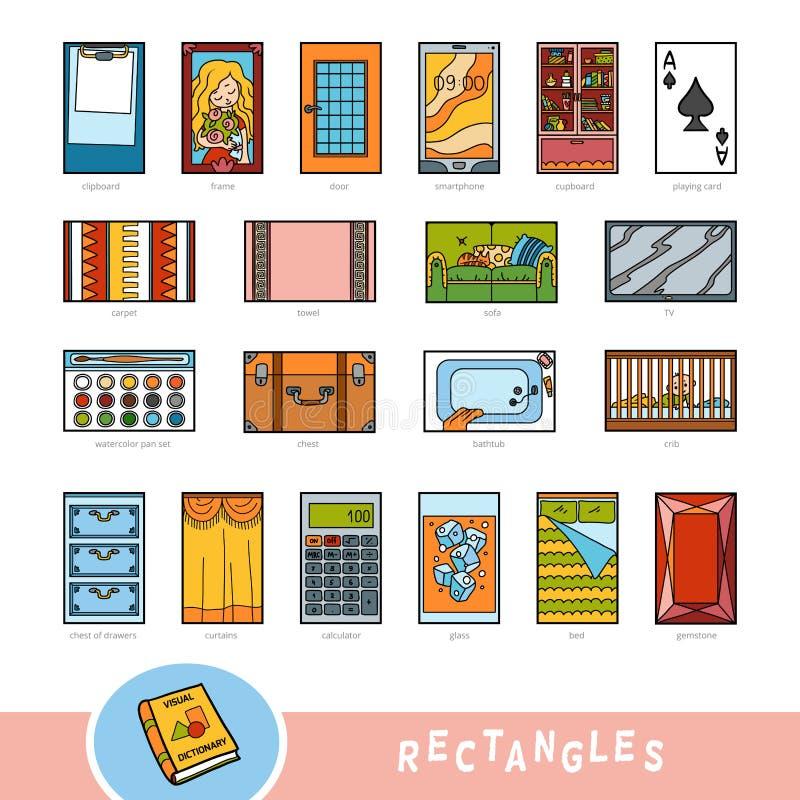 Sistema colorido de objetos de la forma del rectángulo Diccionario visual stock de ilustración
