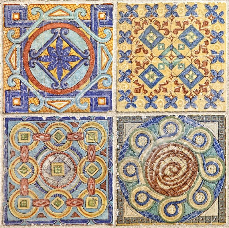 Sistema colorido de tejas ornamentales imágenes de archivo libres de regalías
