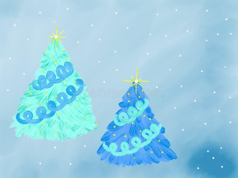 Sistema colorido del azul del árbol de navidad para la tarjeta de felicitación dibujada por la pintura acrílica, la acuarela y el ilustración del vector