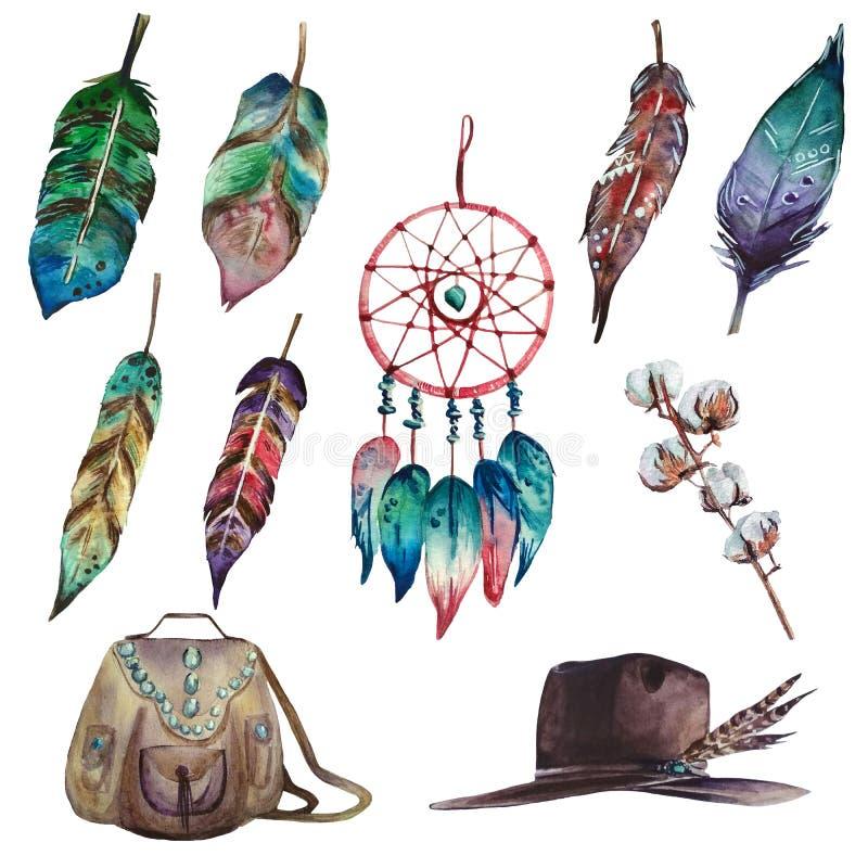 Sistema colorido del boho de la acuarela del colector, de plumas, de la rama del algodón, del bolso y del sombrero ideales stock de ilustración