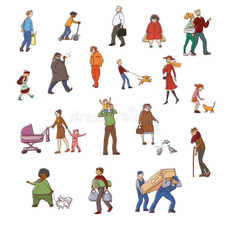 Sistema colorido del bosquejo del vector de residentes urbanos que caminan de los ejemplos Niños y adultos en diversas situacione libre illustration